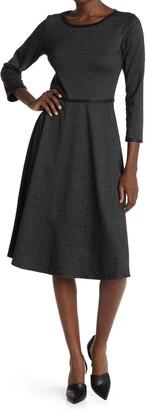 Max Studio Textured 3/4 Length Midi Dress