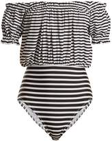 Norma Kamali Jose Mio striped off-the-shoulder swimsuit