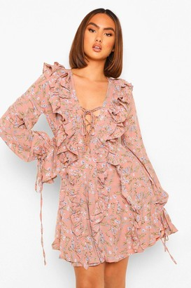 boohoo Floral Ruffle Lace Up Skater Dress