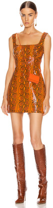 GRLFRND Romi Mini Dress in Orange Snake | FWRD