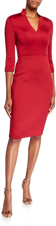 Badgley Mischka V-Neck 3/4-Sleeve Solid Scuba Dress