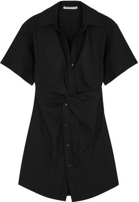Alexander Wang Black Twist-effect Cotton Shirt Dress