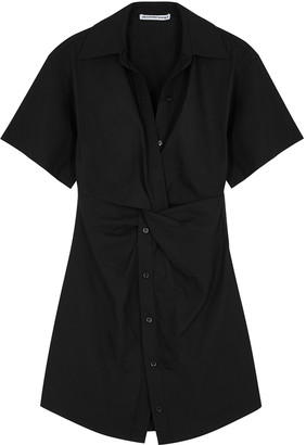 Alexander Wang Black twist-effect cotton shirt dress