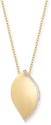 SUTRA 18K Yellow Gold Diamond-Trim Lotus Leaf Necklace