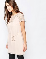 Vila Short Sleeve Tunic With Lace Detail