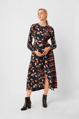 French Connection Anneli Drape Tie Mix Print Wrap Dress