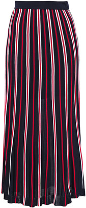 Sandro Striped Pointelle And Ribbed-knit Midi Skirt