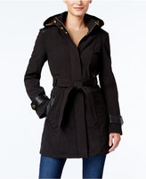 Via Spiga Petite Hooded Faux-Fur-Lined Mixed-Media Raincoat