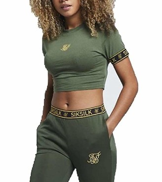 SikSilk Women's Tape Cuff Crop T-Shirt Bronze Green (12)