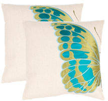 Safavieh Indra Blue Wing Pillows, Set of Two
