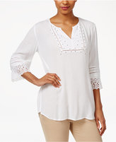 JM Collection Lace-Cuff Studded Top, Created for Macy's