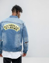 Criminal Damage Denim Jacket With Distressing And Back Print