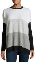 Autumn Cashmere Side-Button Colorblock Cashmere Sweater, Black/Cement/Fog/Cloud