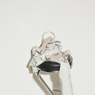 Sandro Embossed crocodile leather sandals