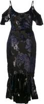 Marchesa sequin embellished cold shoulder dress