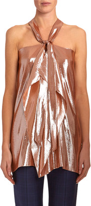 Roland Mouret Pontal Draped Metallic-Silk Jacquard Halter Top