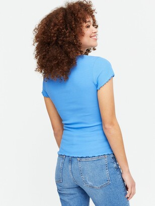 New Look 3 Pack Blue White And Black Ribbed Frill T-Shirts
