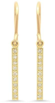 Jennifer Meyer 18kt Yellow Gold Diamond Long Bar Drop Earrings