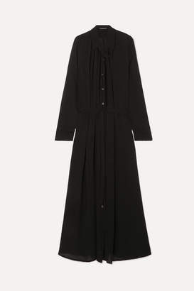 Ann Demeulemeester Ruched Crepe De Chine Maxi Dress - Black