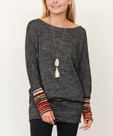 Egs By Eloges egs by eloges Women's Tunics CHARCOAL - Charcoal & Burgundy Stripe-Accent Boatneck Blouson Tunic - Women & Plus