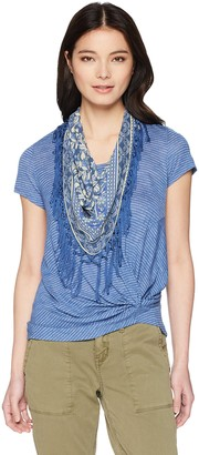 One World ONEWORLD Women's Petite Stripe Knot Top with Scarf