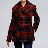 Nicole Miller Women's Plaid Pea Coat