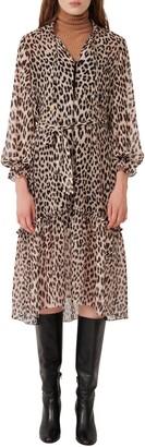 Maje Leopard Print Woven Dress