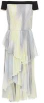 J. Mendel Brushstroke Ombre Printed Chiffon Off The Shoulder Dress
