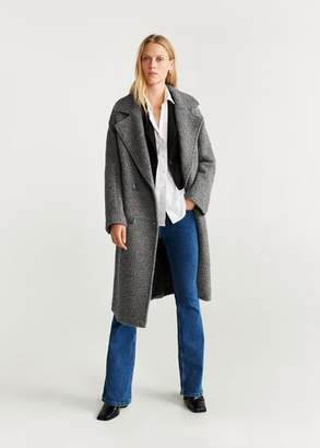 MANGO Fur boucle wool coat