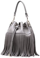 QZUnique Bag QZUnique Women's Large Capacity Genuine Leather Tassle Purse Top Handle Shoulder Bag