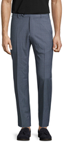 Zanella Wool Checkered Flat Front Trousers