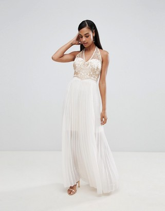 Lipsy pleated maxi dress with embellished detail-Cream