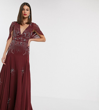 Asos Tall DESIGN Tall maxi dress with linear sequin and floral beading-Red