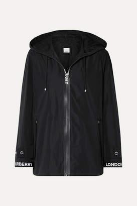 Burberry Hooded Grosgrain-trimmed Shell Jacket - Black