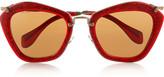 Miu Miu Cat eye glitter acetate and metal sunglasses