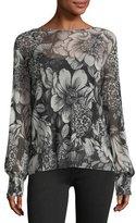 Fuzzi Smock-Cuff Floral-Print Top