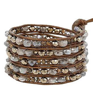 Chan Luu Grey & Goldtone Mineral Stone Mix Beaded Leather Silvertone Wrap Bracelet