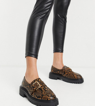 ASOS DESIGN Wide Fit Vivienne chunky loafers in brown snake
