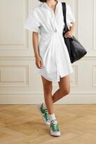 Thumbnail for your product : alexanderwang.t Twist-front Cotton-poplin Mini Shirt Dress - White