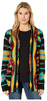Rock and Roll Cowgirl Long Sleeve Cardigan 46-3149 (Multi) Women's Clothing