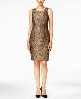 Kasper Printed Jacquard Sheath Dress