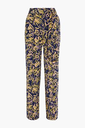 Diane von Furstenberg Sonia Belted Printed Silk Crepe De Chine Wide-leg Pants