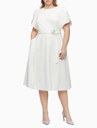 Calvin Klein Plus Size Tulip Sleeve Belted Fit + Flare Dress