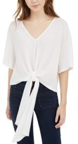Polly & Esther Juniors' Tie-Front Waffle-Knit Top