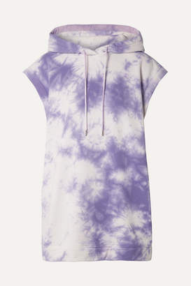 Ninety Percent Oversized Hooded Tie-dyed Organic Cotton-terry Mini Dress - Purple