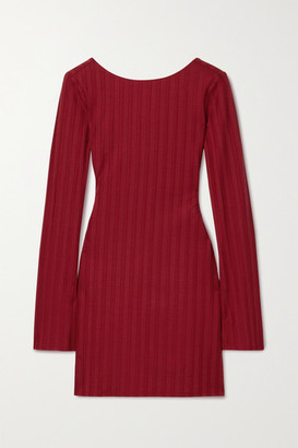 Reformation Cait Cutout Ribbed Stretch-tencel Lyocell Jersey Mini Dress - Red