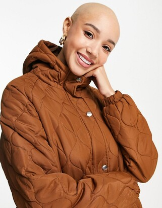 Brave Soul russette quilted coat in toffee brown