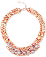 GUESS Rose Gold-Tone Imitation Pearl Double Chain Collar Necklace