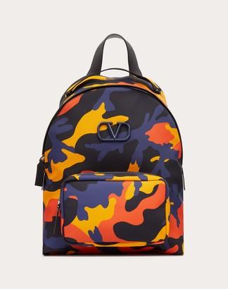 Valentino Garavani Uomo Camouflage Nylon Backpack Man Navy Camo/orange Polyester 41%, Polyurethane 16%, Acrylic 2% OneSize
