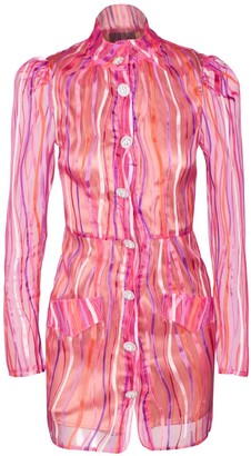 Rue Agthonis Art Striped Pink Diamond Buckle Dress Coat